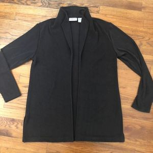 Chicos travelers black stretch open front cardigan